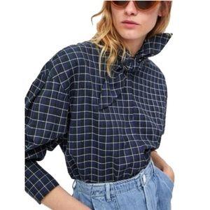 Zara checkered tie collar blouse